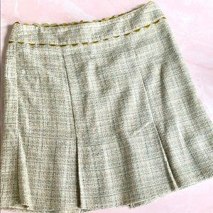 Nanette Lepore Pale Green Tweed/Leather Mini Skirt